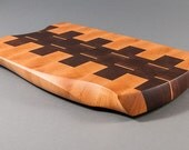 Large Hand Sculpted End-Grain Cutting Board / Butcher Block w/Plate insert - Walnut, Maple