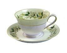Vintage Bone China Teacups and Saucers Noritake Cup Saucer Set, #5020, White Rose, Ivy Vine, Circa 1940