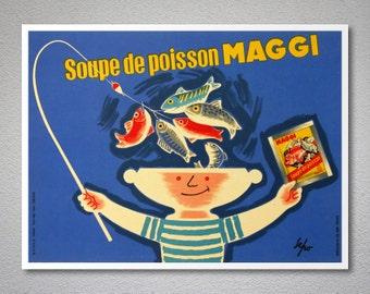 Soupe de Poisson Maggi Vintage Food&Drink Poster by Severo Pozatti, 1957 - Poster Paper, Sticker or Canvas Print