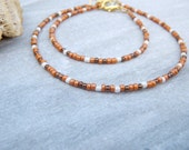 desert dune anklet and bracelet set made in apricot, cream and bronze - beach surfing accessories