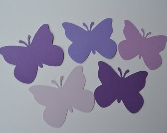 Set of 50 Mixed Purple Butterfly Punch Die Cut Confetti Cutout Scrapbook Embellishments