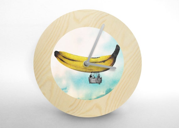 Hey Fishy -  Banana ship art wall clock (collage wall clock)