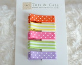 Set of 5 Fully Lined MINI Non Slip Hair Clips- Baby Barrettes-Polka Dot, Stripes