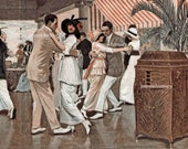 "Wall Art ""They Could Have Danced All Night"", Couples Dancing to Victrola - RESTORED 1921 Art Print  #171"