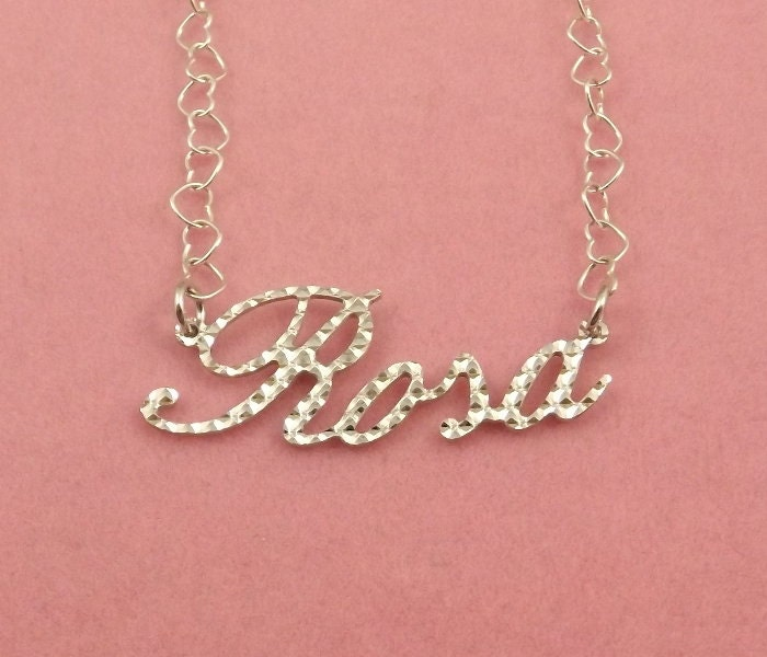sterling silver diamond cut name necklace rosa on sterling. Black Bedroom Furniture Sets. Home Design Ideas