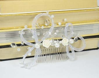 White Silver Bridal hair comb, floral head piece, wedding hair jewelry, white hair flower, bridal hair accessories, crystal hair comb
