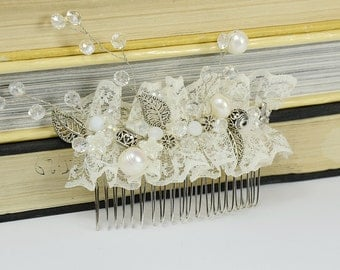 Champagne  Ivory Bridal Hair Comb,  Hair Piece, Vintage Hair Accessories, Statement Bridal hairpiece, Champagne lace comb, vine Hair comb