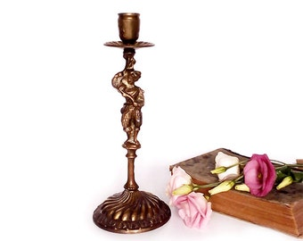 Antique Bronze Candle Holder , French Bronze Candle Holder .