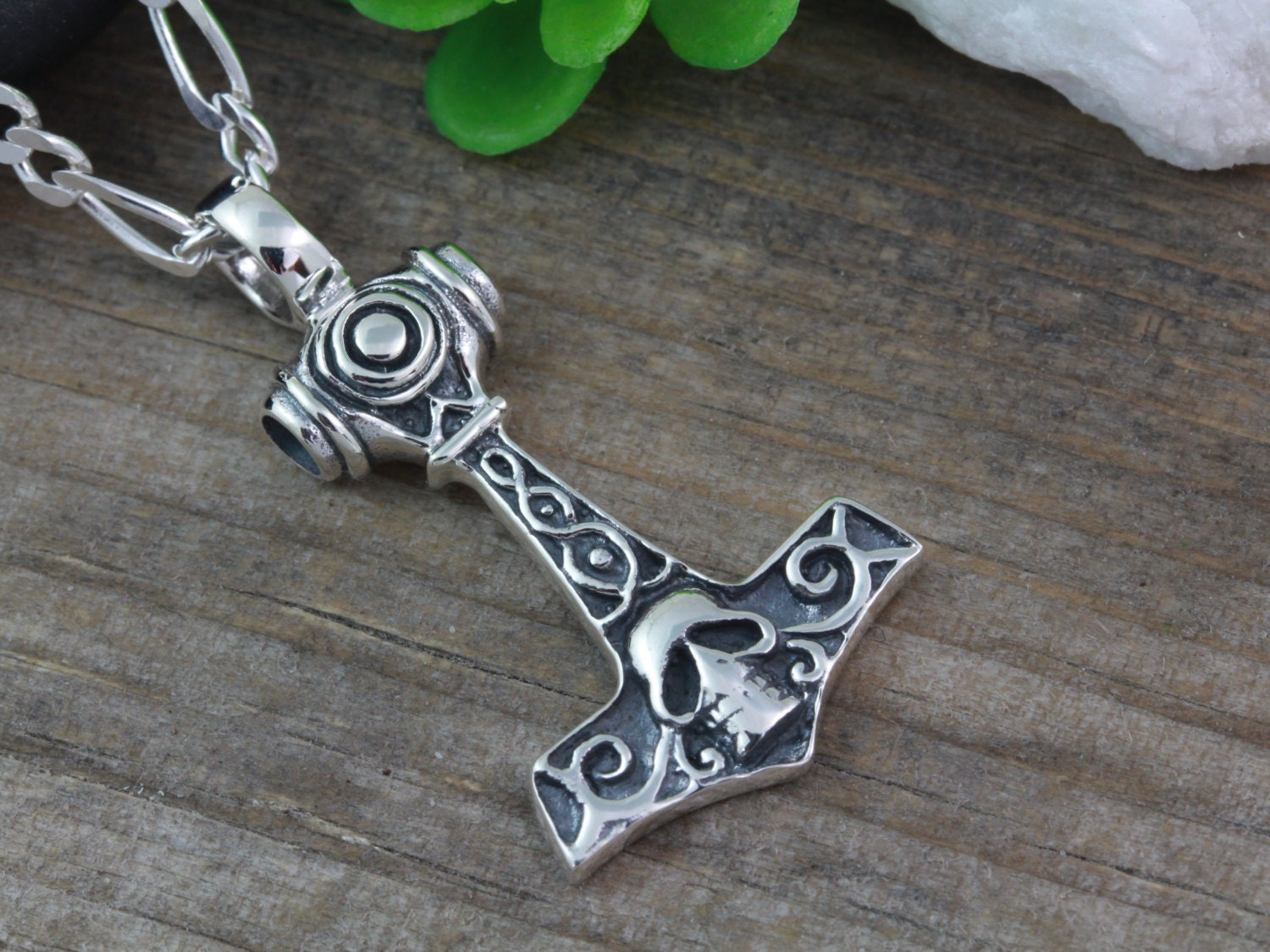 Sterling Silver Thor Hammer Necklace Mane By Lifeofsilver