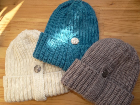 Fisherman beanie - fisherman's hat - wool beanie - wool hat - handknit beanie -winter hat - adult beanie - unisex ribbed beanie