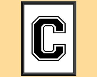 Typography Giclee Print Monogram Initial Wall Art Varsity Letter C