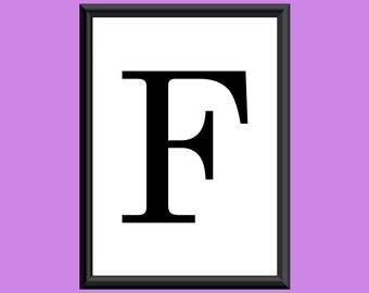 Typography DIGITAL PRINT Monogram Initial Wall Art Century Letter F 5x7
