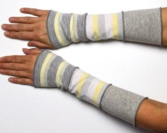 Mittens Arm Warmers 3 colours Wrist Warmers patchwork jersey grey silver yellow