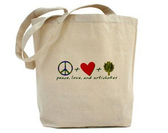 Art Tote Shopping Book Bag Peace Love and Artichokes