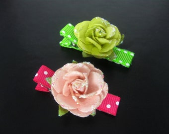 Baby Girl Flowers Lined Hair Bow Clip, Barrettes, Girls Hair Clips, Girls Hair Accessories