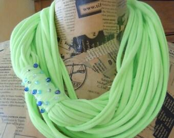 Handmade Infinity Scarf, Recycled T-Shirt Scarf, OOAK Eternity Scarf, Beaded Green Shredded Jersey Scarf, #1075