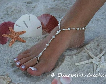 Barefoot Sandal - Simply Elegant  White Pearls and Silver Beads Destination Wedding, Beach Wedding, Bridal Shoes, Beaded Pearl Sandal