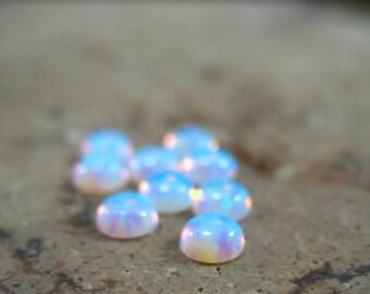 MMS16 Opal Cabochon 4mm Round 3pcs - Iridescent Cabochon,  White Opal Cabochon, Opal Cabochon, Synthetic Opal Cabochon, Wholesale, Setting