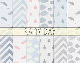 Rainy day - Printable background, Instant Download, Scrapbook paper, Digital paper, Craft paper, Rain drops, Umbrella, Chevron, Clouds