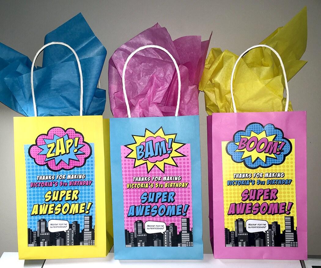 Superhero Gift Bag Labels 7x 4 Printed