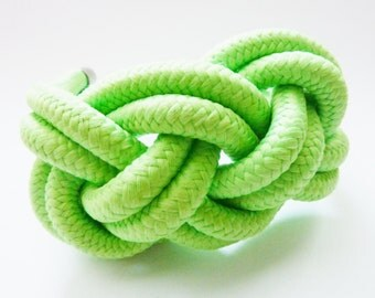 SALE Teal cotton Statement Bracelet, Sailor Knot,green,blue hand dyed cotton rope