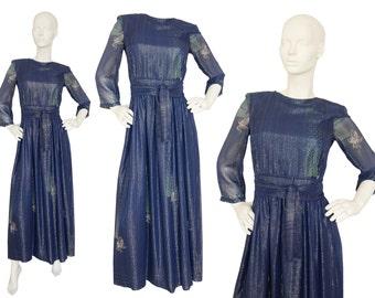 Jean Varon 1970s Vintage Silk Chiffon Maxi Evening Dress Dark Blue Metallic Threads Lurex US Size 6 Small