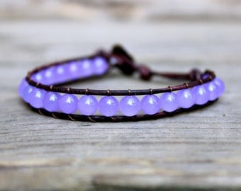 Beaded Leather Single Wrap Stackable Bracelet with Amethyst Purple Quartzite Lilac Beads on Brown Leather
