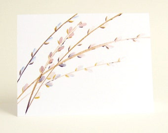 Blank Notecard Set of 8 Chinese Brush Pussy Willow Art Cards A2 Size