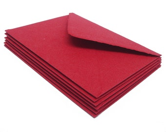 Red envelopes, handmade cotton paper,  A2 size, set of 10