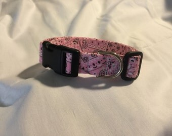 Pink Bandanna Dog collar