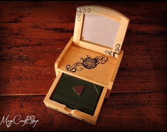 Altar book for practice, small and manageable - micro book 8x6 cm and altar 12x9x6 cm - Pagan Wicca spell magic witch