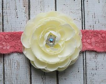 White Cream Petaled Flower on Pink Lacey Headband, Newborn Headband, Pink Headband, Adult Headband, Vintage Headband