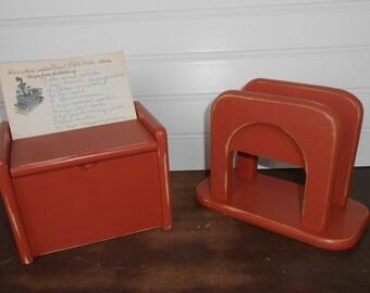 Red Recipe Box and Napkin Holder - Farmhouse/Cottage Kitchen - Barn Red Recipe Box - Napkin Holder - Painted and Distressed Kitchen Decor