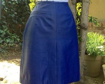 SALE Today Only Vintage Blue Leather Skirt HIGH WAIST Leather Mini Skirt