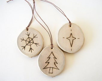 3 Christmas Ornaments Wood Slice Burned Ornaments Tree Snowflake Star Reclaimed Wood