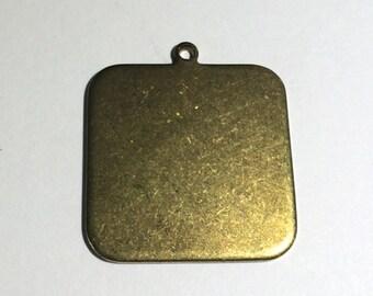 "2 Brass Square Pendant, Pendant, Charm, 1.25"""