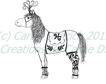 Nursery Art, Art Print, Horse Drawing, Black and White Art, Print Illustrations, Animal Art Work, Art Decor, Chilrens Art, Wall Art, Ink Art