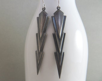 Long Dangle Drop Earrings - Dark Metal Earrings - Arrow style Earrings - Hand darkened - Modern Earrings