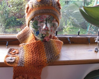 Hand crocheted adult flowery hat and scarf set. Warm and cosy. Own design. Unique. OOAK.