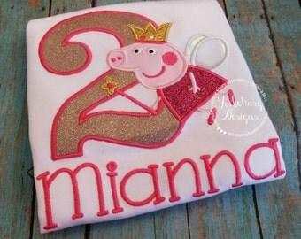 Peppa Pig Fairy Birthday Custom Tee Shirt - Customizable -  Infant to Youth 217