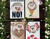 Set of 4 Cute Hedgehogs Greeting Cards - Birthday Card - Love Card - Kawaii - Greeting Card - Funny Card - Wedding -  Anniversary