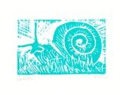 "Original Snail Linocut Block Print Card -- ""Sneldon"" -- Signed by Artist"
