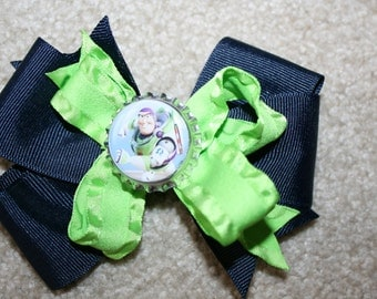SALE Buzz Lightyear from Disney Toy Story Custom Boutique Bottle Cap Hair Bow Clip - lime green and dark navy blue