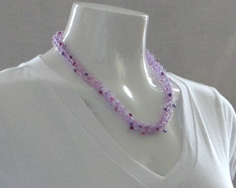 Purple Necklace Lavender Knitted Beaded Necklace Beaded Necklace Lilac Necklace Purple Skinny Necklace For Teen Necklace For Her