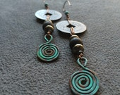 Old Chinese Coin Earrings with Copper and Pyrite