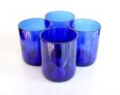 Blue glass drinking tumbler glasses from cut wine bottles- Set of 4