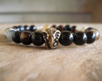 Elephant Bracelet, African Bracelet, Ganesh, Black Beaded Bracelet, Mens Jewelry, Agate Bracelet, Men Women Bracelet, Animal Jewelry