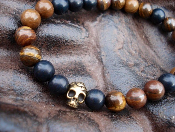 Tiger Eye Bracelet, Skull Bracelet, Mens Bracelet, Black Bracelet, Turquoise Bracelet, Beaded Bracelet, Tiger Eye Jewelry, Bracelet Men