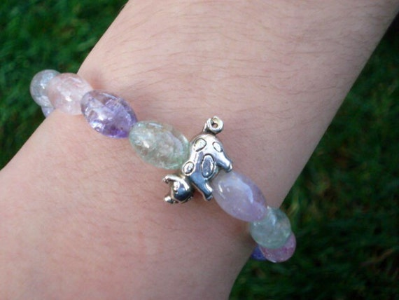 Glass Bracelet, Pig Bracelet, Beaded Bracelet, Silver Charm Bracelet, Pig Jewelry, Funny Jewelry, Pig Collectibles, Farm Animal Jewelry