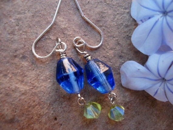 Blue Peridot Glass Earrings, Drop Dangle Hook Earrings, Boho Bohemian Hippie Earrings, Women Earrings, One Of A Kind, OOAK, Teen Gift
